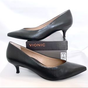 VIONIC Josie slip on kitten heel leather point toe